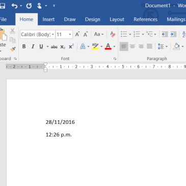 Date and Time in Word