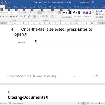 Screenshot of a page break