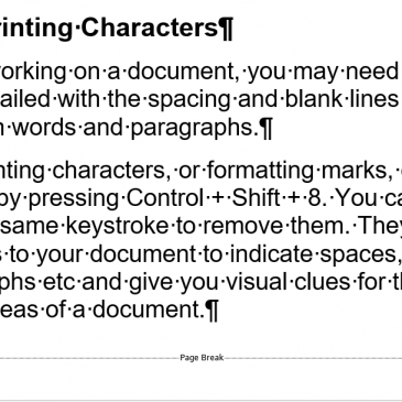 Screenshot of a Word document with non-printing characters displayed
