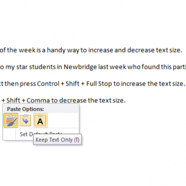 Screenshot of Pasting Options in Word