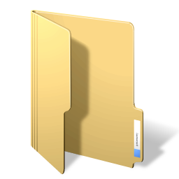A picture of a yellow manila folder, the icon used in Windows for a folder