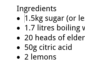 A screenshot of a bullet list example - ingredients on a recipe