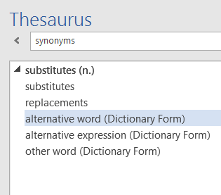 Using the Thesaurus
