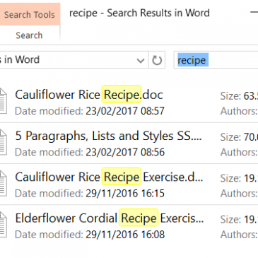 Screenshot of Search Results in File Explorer