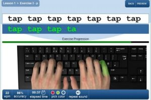 A picture of the TypeHands typing tutor by Searsol