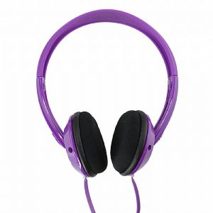 A set of purple and black headphones