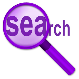 The word search in purple with a purple magnifiying glass highlighting the SEA of the word Search