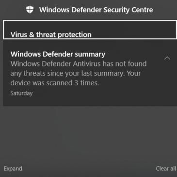 A screenshot of a Windows Defender notification in the Action Center.