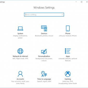 A screenshot of the Windows Settings page.
