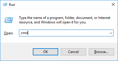 A screenshot of the Run dialog with c m d typed in the edit box