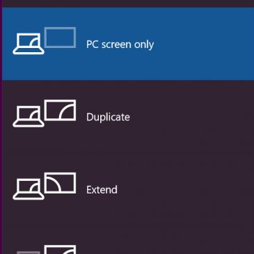Screenshot of the Project menu