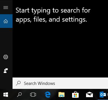 A screenshot of the WIndows 10 search box