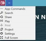 A screenshot of a tablet app with a list of commands displayed