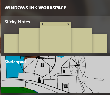 A screenshot of some of the Windows Ink Workspace utility
