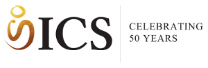 The ICS logo: An abstract figure with the letters ICS and Celebrating 50 years