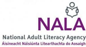 The NALA logo: the letters with a figure reading a book National Adult Literacy Agency in English and Irish underneath.