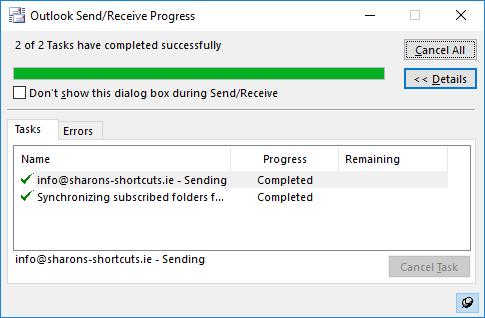A screenshot of the Send Receive progress dialogue