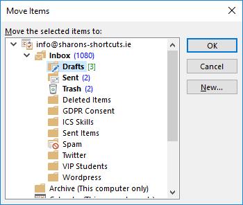 Screenshot of the Move Items dialogue box