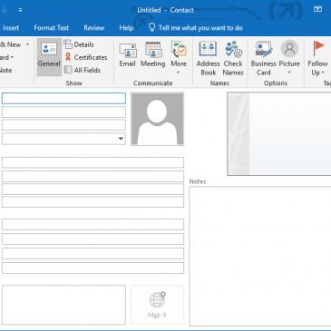 A screenshot of the outlook add contact dialogue