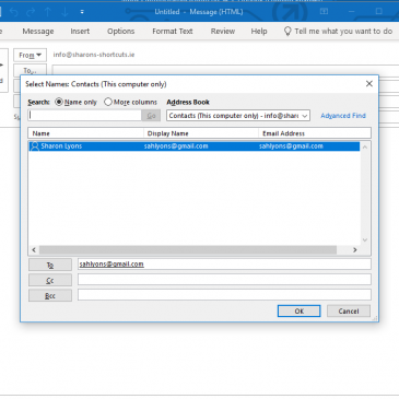 Screenshot of adding an address from the address book into the To field of a new message in Outlook