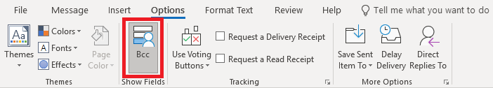 Screenshot of the Options ribbon in a new email message in Outlook with BCC highlighted