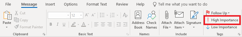 Screenshot of ribbon in Outlook with High Importance option highlighted