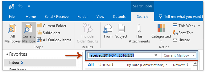 A screenshot of the search box in Outlook