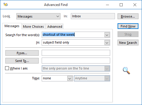 Advanced Find in Outlook