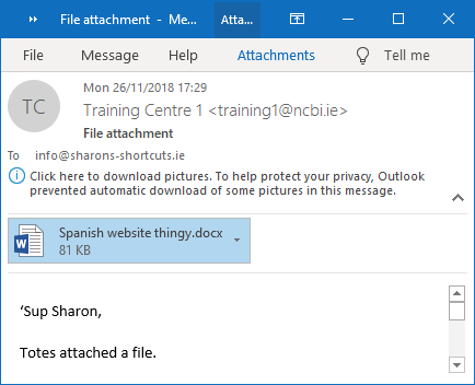 A screenshot of an email message with an attachment