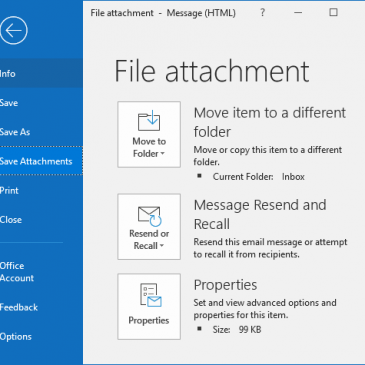 A screenshot of the File menu in Outlook with Save Attachments highlighted