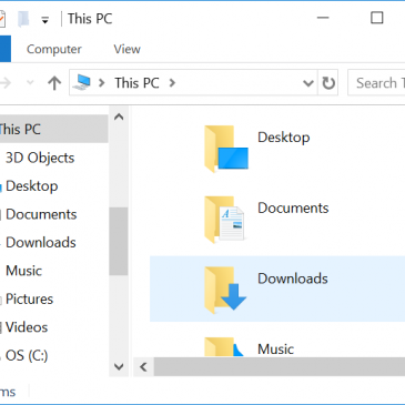 A screenshot of the File Explorer window with the main folders displayed