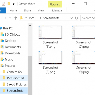 A screenshot of the Screenshots folder on a PC!