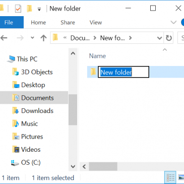 A screenshot of File Explorer with a New Folder ready to be renamed