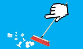 A picture of a PC pointer hand sweeping up on a desktop