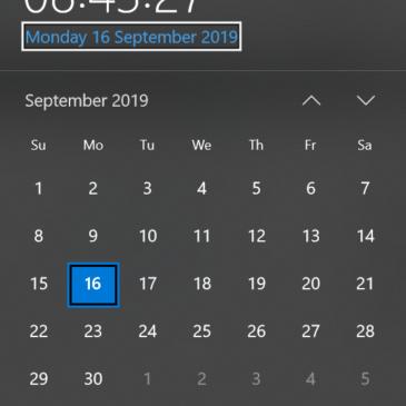 A screenshot of the Windows calendar