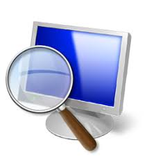 The Magnifier icon: a picture of a blue monitor screen with a magnifying glass.