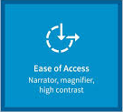 The ease of access icon, a dashed circle with an arrow pointing down and one pointing to the right so that it resembles a disabled sign