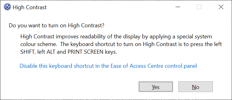 A screenshot of the High Contrast confirmation message