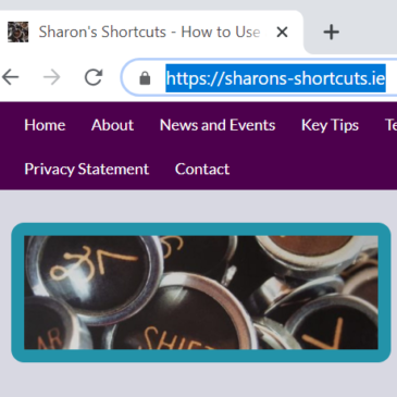 A screenshot of the address bar showing the sharons-shortcuts.ie URL