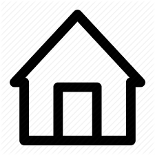 A picture of a Home Icon, a black outline of a house with a black outline of a door.