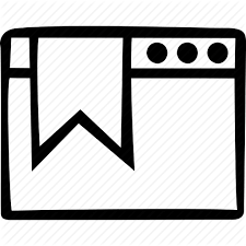 A icon of a browser window with an old style bookmark on it.