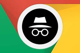 The incognito logo: a detective style hat with some spectacles below, white on a black background