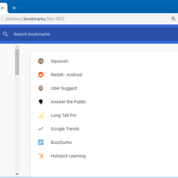A screenshot of the Bookmarks Manager