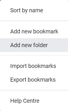 A screenshot of the Organise menu in Chrome Bookmarks Manager