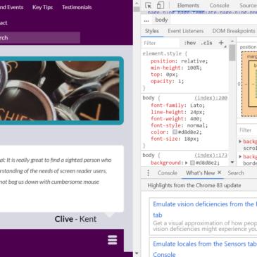 A screenshot of developer tools in Chrome