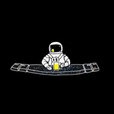 A picture of a spaceman drinking a pint of beer resting on a large spacebar