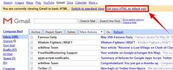 A screenshot of the Basic HTML View in Gmail highlighting the link to make it default