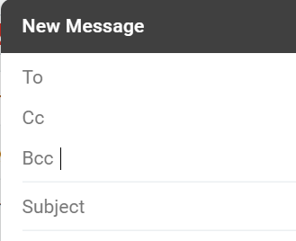 A screenshot of the CC and BCC fields in a Gmail message