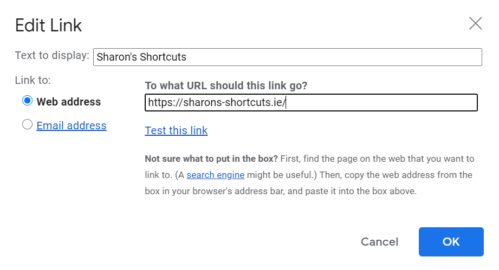 a screenshot of the Edit Link dialogue in Gmail