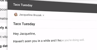 A screenshot of smart compose feature in Gmail